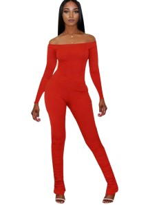 Autumn Solid Color Off Shoulder Bodycon gestapelter Overall