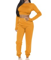 Conjunto de pantalones de chándal y top corto ajustado de color sólido de otoño