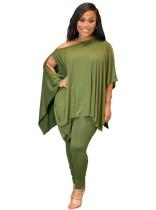 Conjunto de camisa suelta y leggings ajustados de color sólido de otoño