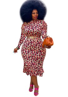 Plus Size Mature Leopard Midi Dress with Full Sleeves