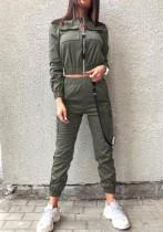 Ensemble haut court et pantalon de survêtement vert Street Style