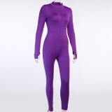Autumn Sexy Solid Color Fitness Jumpsuit with the Corset
