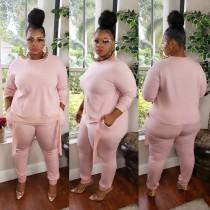 Plus Size Autumn Pink Shirt and Pants Set