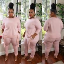 Conjunto de camisa y pantalón rosa otoño de talla grande