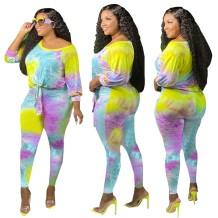 Conjunto de pantalones de 2 piezas con efecto tie dye de talla grande