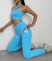 Sports Fitness Yoga Sujetador de un hombro y conjunto de legging de cintura alta