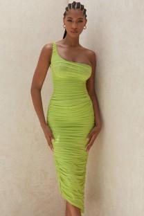 Винтажное зеленое платье миди на одно плечо со сборками