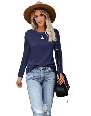 Camisa regular de cuello redondo de color sólido de otoño