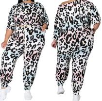 Top e pantaloni leopardati casual autunnali taglie forti
