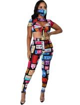 Conjunto de pantalón y top corto sexy colorido con estampado de fiesta