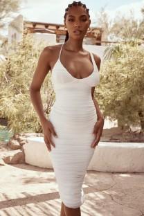 Винтажное белое платье миди со сборками на бретелях