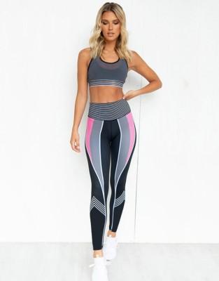Conjunto de sutiã e legging de cintura alta para ioga e fitness esportivo