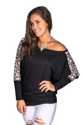 Camisa regular con estampado de leopardo y mangas de murciélago de otoño
