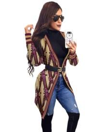 Осенняя длинная блузка с принтом и длинными рукавами