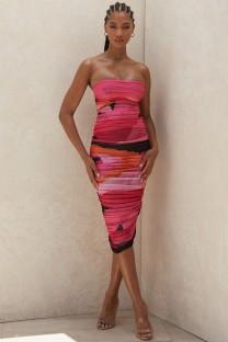 Сексуальное платье миди со сборками и оборками без бретелек
