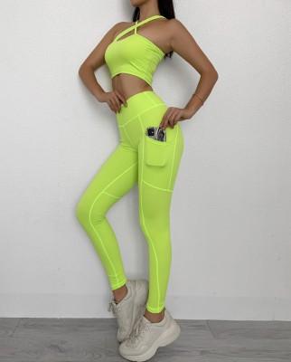 Conjunto de calças esportivas, fitness, ioga, um ombro, legging