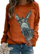 Осенняя спортивная рубашка с круглым вырезом и животным принтом