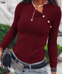 Camisa básica de malha de manga comprida outono