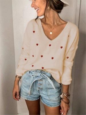 Autumn Heart Print V-Neck Regular Loose Sweaters