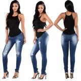 Calça jeans de cintura alta rasgada fashion