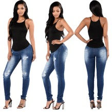 Fashion Blue High Waist Ripped Fitting Jeans