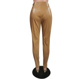 Calças sexy de couro com zíper de cintura alta