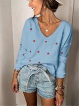 Suéteres sueltos regulares con cuello en V y estampado de corazón de otoño