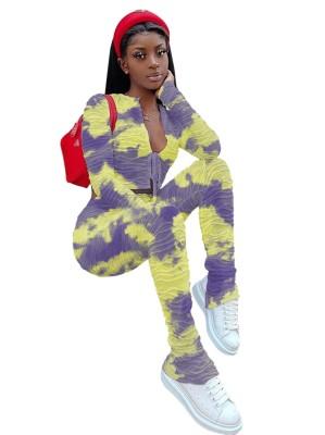 Conjunto de calças tie-dye de duas peças de outono combinando com top e cintura alta