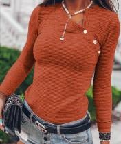 Camisa básica de punto de manga larga de otoño