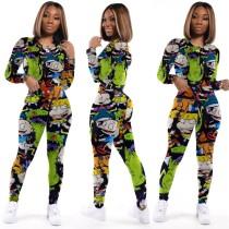 Set di pantaloni stretti in due pezzi con stampa carina autunnale