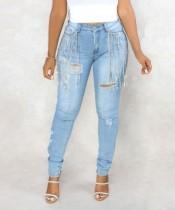 ファッションライトブルータッセルフィッティングジーンズ