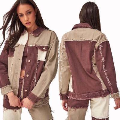 Jaqueta jeans outono contraste patchwork