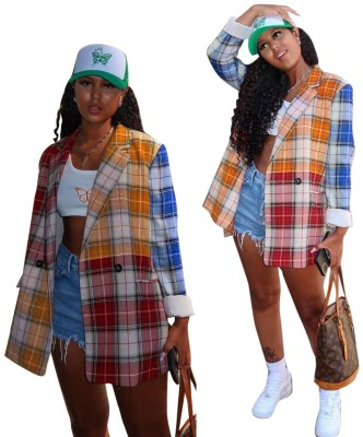 Autumn Plaid Colorful Long Blouse with Full Sleeves
