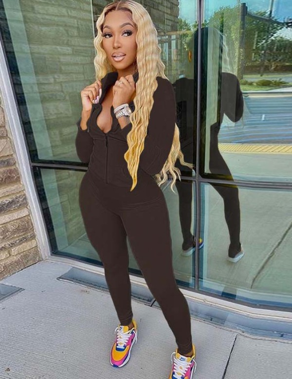 Autumn Solid Color Tight Hoody Tracksuit