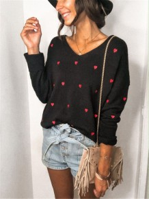 Autumn Loose Sweater mit Herbst-Herzdruck und V-Ausschnitt