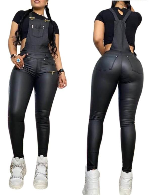 Осенние сексуальные узкие кожаные брюки на подтяжках