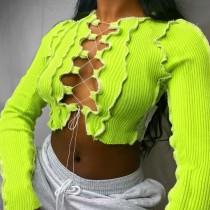 Haut court sexy à lacets en tricot d'automne à manches longues