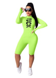 Sports Fitness Long Sleeve Print Letter Bodycon Rompers