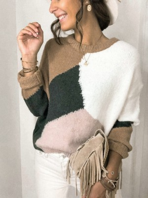 Autumn Contrast O-Neck Pullover Sweater Top