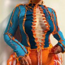 Top decotado de malha outono contrastante sexy com mangas compridas