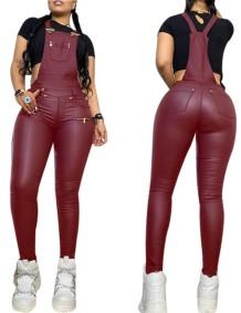 Autumn Sexy Tight Leather Suspender Pants