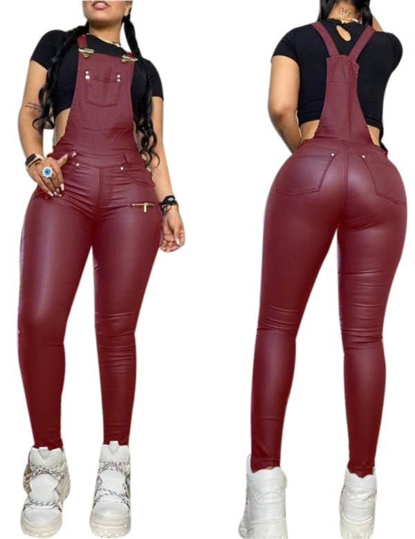 Pantalon à bretelles en cuir sexy d'automne
