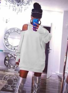 Autumn White Cutout Blank Hoody Kleid