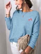 Herbstlicher Herzdruck O-Neck Regular Loose Sweaters