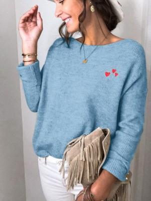 Autumn Heart Print O-Neck Regular Loose Sweaters
