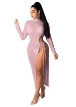 Sommer Sexy Durchsichtig Seitenschlitz Rosa Langes Partykleid