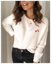 Suéteres sueltos regulares con cuello redondo y estampado de corazón de otoño