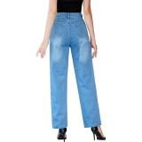 Jeans Simples Azul Cintura Alta