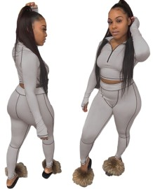 Conjunto de legging de outono esportivo combinando com corte de cintura alta