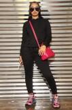 Herbstlicher einfarbiger Taschen-Kapuzenpullover-Trainingsanzug